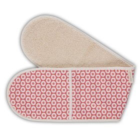 Belle - Quality 'English made' kitchen textiles - double oven glove coral flower crisp and dene