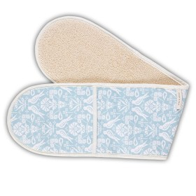 Belle - Quality 'English made' kitchen textiles - double oven glove blue bird crisp and dene