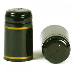 Shrink Capsules - Black with gold bands